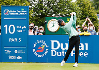 2nd July 2021; Mount Juliet Golf Club, Kilkenny, Ireland; Dubai Duty Free Irish Open Golf, Day Two; Tommy Fleetwood of England of England tees off on the 10th tee