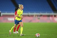 YOKOHAMA, JAPAN - AUGUST 6: Caroline Seger #17 of Sweden controls the ball during a game between Canada and Sweden at International Stadium Yokohama on August 6, 2021 in Yokohama, Japan.