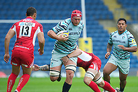 Rob Andrew of Leicester Tigers charges upfield during the Aviva Premiership match between London Welsh and Leicester Tigers at the Kassam Stadium on Sunday 2nd September 2012 (Photo by Rob Munro)