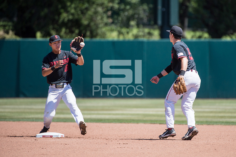 STANFORD, CA - MAY 29: Adam Crampton, Tim Tawa during a game between Oregon State University and Stanford Baseball at Sunken Diamond on May 29, 2021 in Stanford, California.