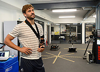 Swansea City's Fernando Llorente with a broken left arm in the gym for the first day back of the pre season.