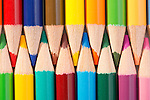 Rows of colorful pencils