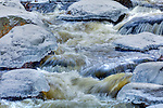 Early winter ice on Card Mill Stream in Franklin, ME, USA