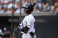 Yoelqui Cespedes (15) of the Winston-Salem Dash waits for his turn to bat during the game against the Greensboro Grasshoppers at Truist Stadium on June 19, 2021 in Winston-Salem, North Carolina. (Brian Westerholt/Four Seam Images)