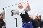 Celebrity Golf @ Golf Live.Mike Tindall tees off the 1st..Celtic Manor Resort.10.05.13.©Steve Pope