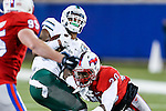Tulane Green Wave wide receiver Devon Breaux (8) in action during the game between the Tulane Green Wave and the SMU Mustangs at the Gerald J. Ford Stadium in Dallas, Texas.