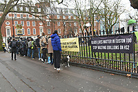 General view as members of the public and media look on during a protest against the construction of the HS2 railway line at Euston Square Gardens on 27th January 2021