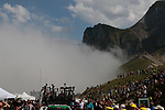 Mountain mist rolls in atop the Col du Tourmalet at the end of Stage 14 of the 2019 Tour de France running 117.5km from Tarbes to Tourmalet Bareges, France. 20th July 2019.<br /> Picture: Colin Flockton | Cyclefile<br /> All photos usage must carry mandatory copyright credit (© Cyclefile | Colin Flockton)