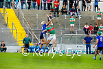 St Brendan's David Griffin and Crotta's Paudie Quille take to the air to try and gain possession in the County Senior Hurling Championship quarter final