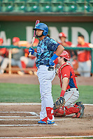 Ronny Brito (5) of the Ogden Raptors bats against the Orem Owlz at Lindquist Field on August 3, 2018 in Ogden, Utah. The Raptors defeated the Owlz 9-4. (Stephen Smith/Four Seam Images)