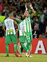 MEDELLIN - COLOMBIA - 25 - 05 - 2017: Dayro Moreno (Der.) jugador de Atlético Nacional, celebra el gol anotado a Bolívar, durante partido de la de la fase de grupos, grupo B, fecha 4, entre Atlético Nacional y Bolívar (BOL), por la Copa Conmebol Libertadores 2018, en el Estadio Atanasio Girardot, de la ciudad de Medellín. / Dayro Moreno (R) player of Atletico Nacional, celebrates the goal scored against Bolivar, during a match for the group stage, group B of the 4th date, between Atletico Nacional (COL) and Bolivar (BOL), for the Conmebol Libertadores Cup 2018, at the Atanasio Girardot, Stadium, in Medellin city. Photo: VizzorImage / Leon Monsalve / Cont.