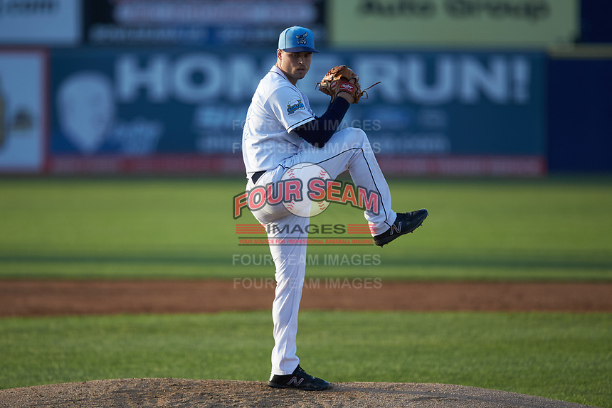 Wilmington Blue Rocks starting pitcher Daniel Tillo (43) in action against the Fayetteville Woodpeckers at Frawley Stadium on June 6, 2019 in Wilmington, Delaware. The Woodpeckers defeated the Blue Rocks 8-1. (Brian Westerholt/Four Seam Images)
