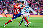 Fernando Torres of Atletico de Madrid (L) fights for the ball with Facundo Roncaglia of RC Celta de Vigo (R) during the La Liga 2017-18 match between Atletico de Madrid and RC Celta de Vigo at Wanda Metropolitano on March 11 2018 in Madrid, Spain. Photo by Diego Souto / Power Sport Images