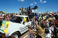 Nelson Mandela greets supports at a campaign stop. After more then 27 years in jail as an anti-apartheid activist,   Nelson Mandela lead a 1994 campaign for President as a member of the African National Congress (ANC),  in the first free elections in South Africa in 1994.  Mandela has received more than 250 awards over four decades, including the 1993 Nobel Peace Prize..