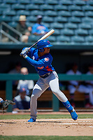 Tennessee Smokies Charcer Burks (3) at bat during a Southern League game against the Jacksonville Jumbo Shrimp on April 29, 2019 at Baseball Grounds of Jacksonville in Jacksonville, Florida.  Tennessee defeated Jacksonville 4-1.  (Mike Janes/Four Seam Images)