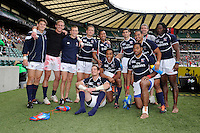 The USA Eagles Sevens team after the iRB Marriott London Sevens at Twickenham on Sunday 13th May 2012 (Photo by Rob Munro)