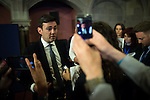 © Joel Goodman - 07973 332324 . 23/06/2016 . Manchester , UK .  ANDY BURNHAM , MP for Leigh and candidate in Labour's Greater Manchester Mayoralty race , talking to media at the declaration for the EU referendum at Manchester Town Hall . Photo credit : Joel Goodman