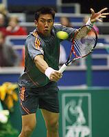 14-02-2005,Rotterdam, ABNAMROWTT , Andreev  Srichaphan in actie tegen Andreev