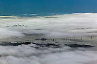 aerial photography fog Richmond Bridge, Contra Costa county California