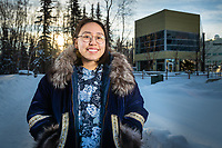 Alaska Native Science and Engineering Program (ANSEP) student Katherine Sakeagak, who is double majoring in math and civil engineering, outside UAA's ANSEP Building. Sakeagak's father was part of the first group of ANSEP students.