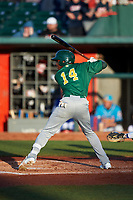 Beloit Snappers Lester Madden (14) at bat during a Midwest League game against the Lansing Lugnuts at Cooley Law School Stadium on May 4, 2019 in Lansing, Michigan. Beloit defeated Lansing 2-1. (Zachary Lucy/Four Seam Images)