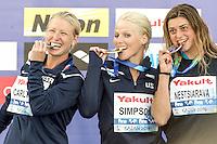 (L to R) CARLTON Cesilie USA silver ; Rachelle Simpson USA Gold Medal; NESTSIARAVA Yana BLR Bronze<br /> High Diving Women 20 m. tuffi final<br /> Kazanka River<br /> Day12 04/08/2015<br /> XVI FINA World Championships Aquatics <br /> Kazan Tatarstan RUS July 24 - Aug. 9 2015 <br /> Photo G.Scala/Deepbluemedia/Insidefoto