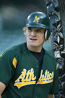 Eric Byrnes of the Oakland Athletics during a 2003 season MLB game at Angel Stadium in Anaheim, California. (Larry Goren/Four Seam Images)