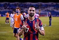 SAN PEDRO SULA, HONDURAS - SEPTEMBER 8: Sebastian Lletget #17 of the United States celebrates after a game between Honduras and USMNT at Estadio Olímpico Metropolitano on September 8, 2021 in San Pedro Sula, Honduras.