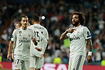 Real Madrid's Marcelo Vieira celebrates goal during UEFA Champions League match between Real Madrid and FC Viktoria Plzen at Santiago Bernabeu Stadium in Madrid, Spain. October 23, 2018. (ALTERPHOTOS/A. Perez Meca)<br /> n