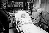 Chicago, Illinois<br /> USA<br /> December 17, 2009<br /> <br /> At the University of Chicago Medical Center Geraldine Martin, 80 years old, is prepared for open heart surgery to have a valve replaced and hole repaired. She is accompanied by her sister Helen Martin prior to the surgery.