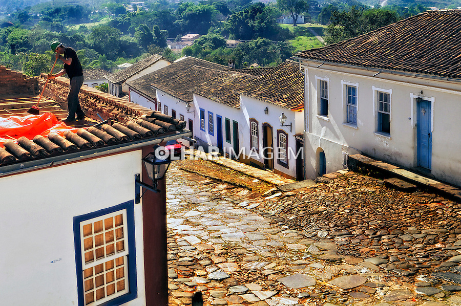 Rua e casas coloniais em Tiradentes. Minas Gerais. 2009. Foto de Sergio Amaral.