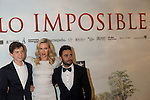 08.10.2012. The film team attends the premiere of Kinepolis Cinema in Madrid of the movie 'The Impossible'. Directed by Juan Antonio Bayona and starring by  Naomi Watts and Tom Holland. In the image (L-R) Tom Holland, Naomi Watts and Juan Antonio Bayona (Alterphotos/Marta Gonzalez)