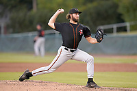 Pitcher Adam Stauffer (46) of the Delmarva Shorebirds in a game against the Lynchburg Hillcats on Wednesday, August 11, 2021, at Bank of the James Stadium in Lynchburg, Virginia. (Tom Priddy/Four Seam Images)