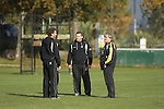 Scott Johnson - Director of Coaching with Sean Holley (Head Coach) and Jonathan Humphreys (Forwards Coach) during Ospreys rugby training at Llandarcy Institute of Sport near Neath aheah of their Heineken Cup match with Clermont Auvergne on Sunday..