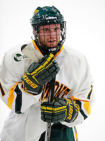 6 November 2009: University of Vermont Catamount forward Justin Milo, a Junior from Edina, MN, awaits a post-game interview after scoring the game-tying goal in his first game of the season for the Cats against the University of Massachusetts Lowell River Hawks at Gutterson Fieldhouse in Burlington, Vermont. The Hockey East rivals battled to a 3-3 tie. Mandatory Credit: Ed Wolfstein Photo