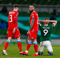 27th March 2021; Aviva Stadium, Dublin, Leinster, Ireland; 2022 World Cup Qualifier, Ireland versus Luxembourg; James Collins of Ireland reacts to his missed shot on goal