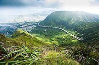 An ultrawide view of the H-3 from the top of the Ko'olau Range, with Kane'ohe on the left, O'ahu.