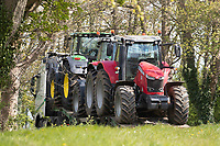 29-4-2021 Secondhand tractors being moved on a low loader<br /> ©Tim Scrivener Photographer 07850 303986<br />      ....Covering Agriculture In The UK....