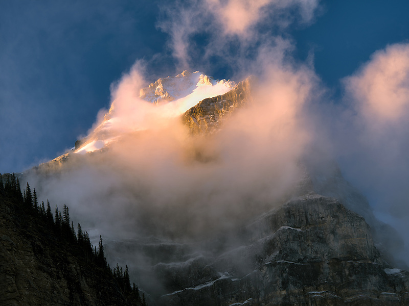 Early morning sunrise on peaks around Moraine Lake. Banff National Park. Alberta Canada.