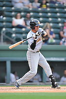 Third baseman Angel Aguilar (2) of the Charleston RiverDogs bats in a game against the Greenville Drive on Tuesday May 17, 2016, at Fluor Field at the West End in Greenville, South Carolina. Greenville won, 4-2. (Tom Priddy/Four Seam Images)