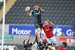 Ian Evans beats Donnacha Ryan to the lineout ball..RaboDirect Pro12 Play Off Semi Final.Ospreys v Munster.Liberty Stadium.11.05.12.©Steve Pope