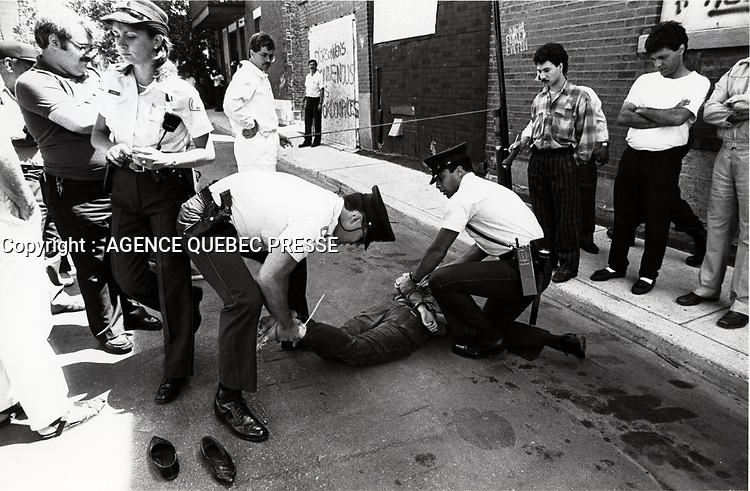 June 27 1988 File Photo - Montreal (qc) CANADA -  Police arrest of Overdale tenants who refuse to be evicted by a promoter.  The project was never built