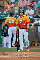 Jared Walsh (18) of the Salt Lake Bees walks up to bat against the Oklahoma City Dodgers at Smith's Ballpark on August 1, 2019 in Salt Lake City, Utah. The Bees defeated the Dodgers 14-4. (Stephen Smith/Four Seam Images)