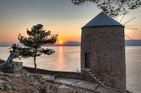 Sunset from a windmill in Hydra island, Greece