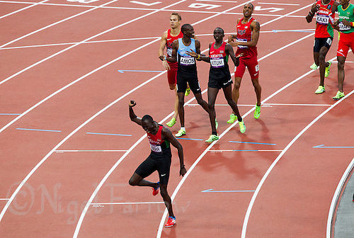 09 AUG 2012 - LONDON, GBR - David Rudisha (KEN) (bottom left) of Kenya celebrates winning the men's 800m final during the London 2012 Olympic Games athletics in the Olympic Stadium, Stratford, London, Great Britain (PHOTO (C) 2012 NIGEL FARROW)