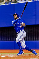 25 March 2019: Toronto Blue Jays outfielder Kevin Pillar at bat during an exhibition game against the Milwaukee Brewers at Olympic Stadium in Montreal, Quebec, Canada. The Brewers defeated the Blue Jays 10-5 in the first of two MLB pre-season games in the former home of the Montreal Expos. Mandatory Credit: Ed Wolfstein Photo *** RAW (NEF) Image File Available ***