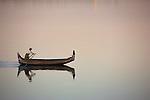 Rowing across the Irrawaddy, Myanmar