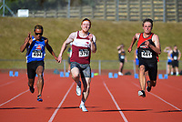 Jake Paul (376) sprints to victory in the open men's 100m. 2021 Capital Classic athletics at Newtown Park in Wellington, New Zealand on Saturday, 20 February 2021. Photo: Dave Lintott / lintottphoto.co.nz