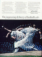 Univac ad featuring baseball pitcher, 1968, Daniel & Charles Agency. Photo by John G. Zimmerman.