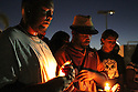 About 40 people participated in a candle light vigil in El Cajon, California, a suburb of San Diego, 09/28/16, in honor of an African American man, Alfredo Olango, who was killed by police the night before.